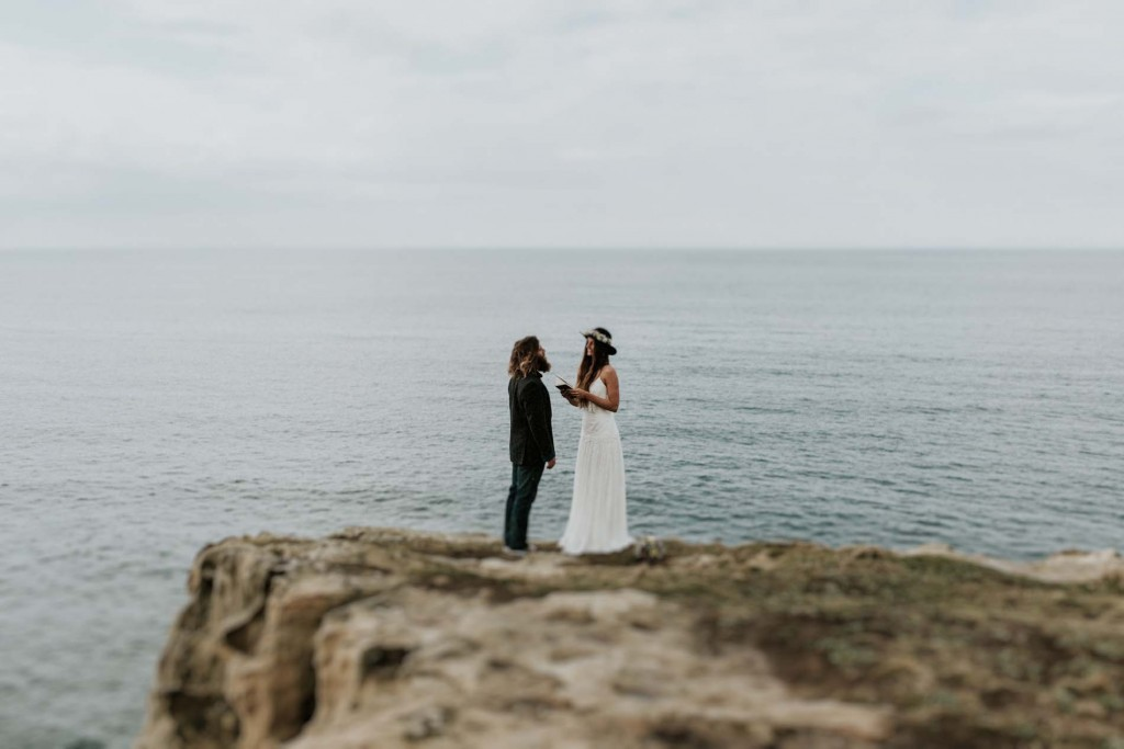 Wedding photographer ocean elopement