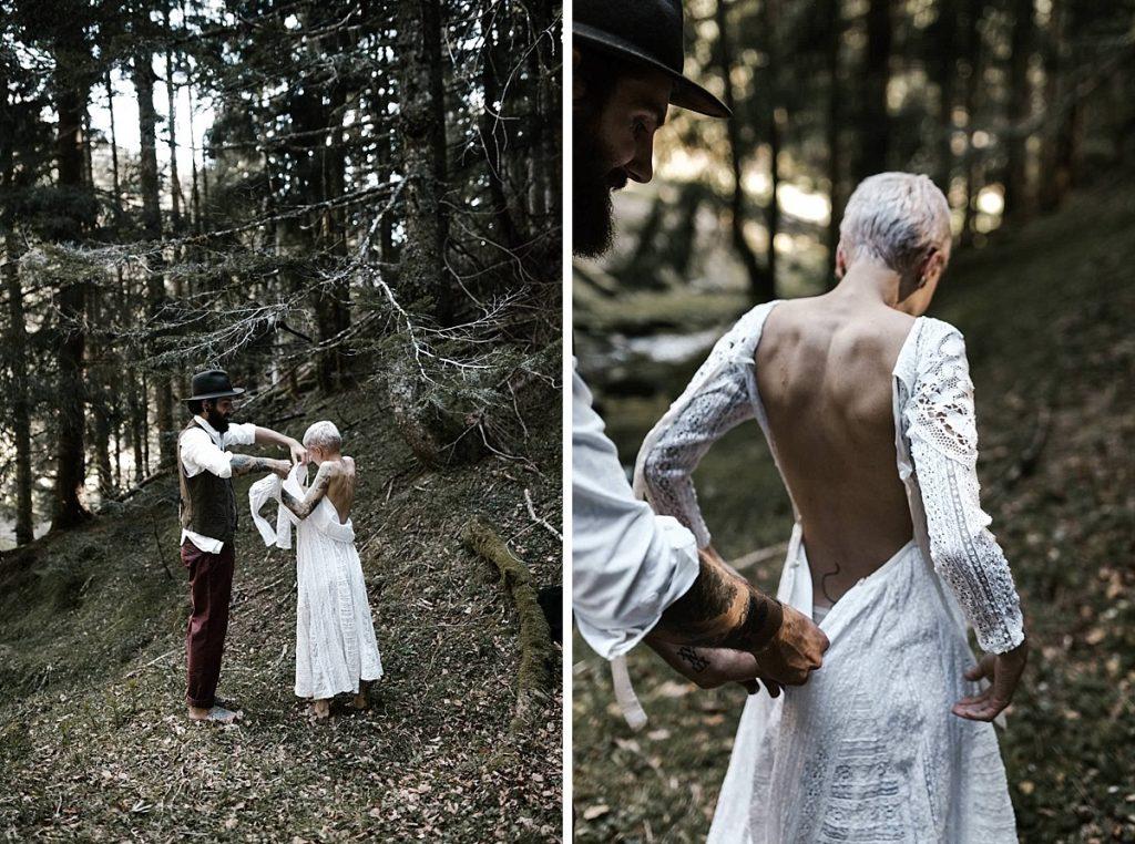 dress road trip wedding Yoris photographe elopement folk